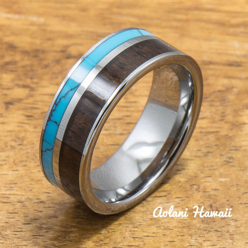 Turquoise Tungsten Ring with Dark Koa Wood Inlay (6mm - 8mm Width, Flat style) - Aolani Hawaii - 1