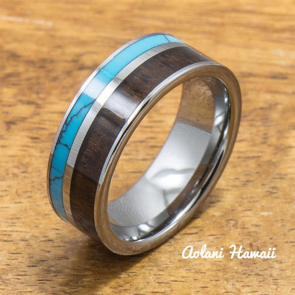 Turquoise Tungsten Rings Set with Dark Koa Wood Inlay (6mm & 8mm width, Flat Style) - Aolani Hawaii - 2