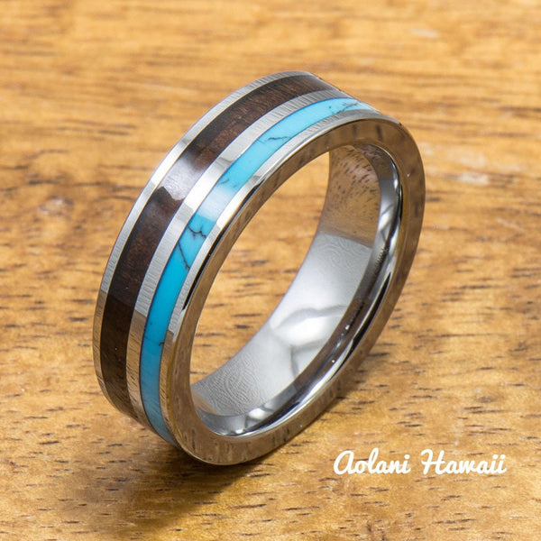 Turquoise Tungsten Rings Set with Dark Koa Wood Inlay (6mm & 8mm width, Flat Style) - Aolani Hawaii - 3