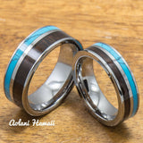 Turquoise Tungsten Ring with Dark Koa Wood Inlay (6mm - 8mm Width, Flat style) - Aolani Hawaii - 3