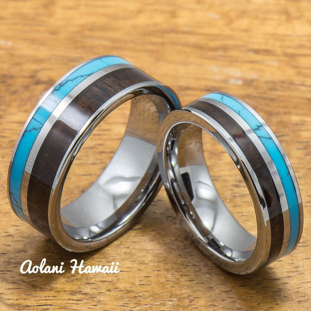 Turquoise Tungsten Rings Set with Dark Koa Wood Inlay (6mm & 8mm width, Flat Style) - Aolani Hawaii - 1