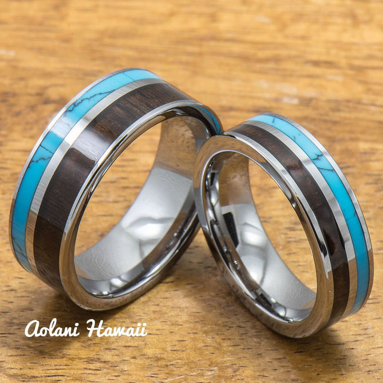 Turquoise Tungsten Rings Set with Dark Koa Wood Inlay (6mm & 8mm width, Flat Style)