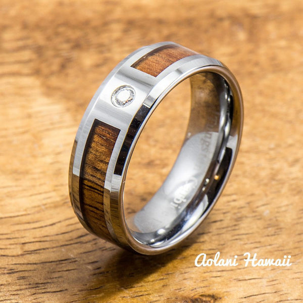 Tungsten Wedding Band Set of Hawaiian Koa Wood Tungsten Rings with CZ Stone (6mm & 8mm width, Flat style ) - Aolani Hawaii - 2