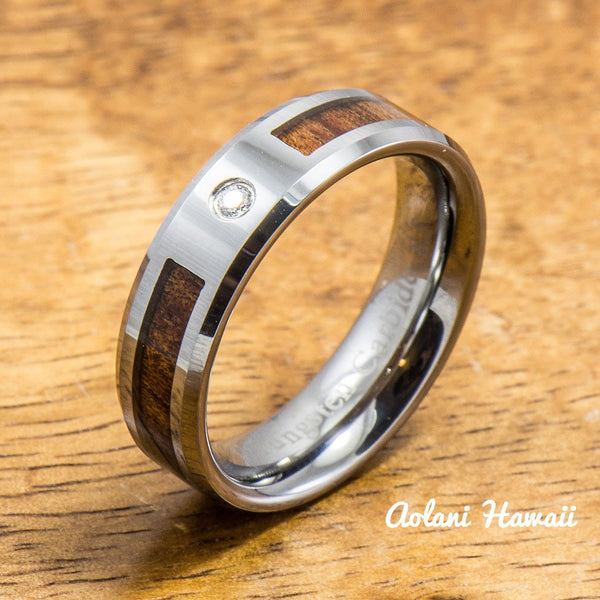 Wedding Band - Hawaiian Koa Wood Tungsten Ring (6mm - 8mm width CZ Stone, Flat style) - Aolani Hawaii - 2