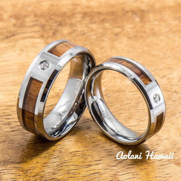 Tungsten Wedding Band Set of Hawaiian Koa Wood Tungsten Rings with CZ Stone (6mm & 8mm width, Flat style ) - Aolani Hawaii - 1
