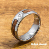 A Set of Hawaiian Koa Wood Tungsten Rings with CZ Stone (6mm & 8mm width ) - Aolani Hawaii - 2