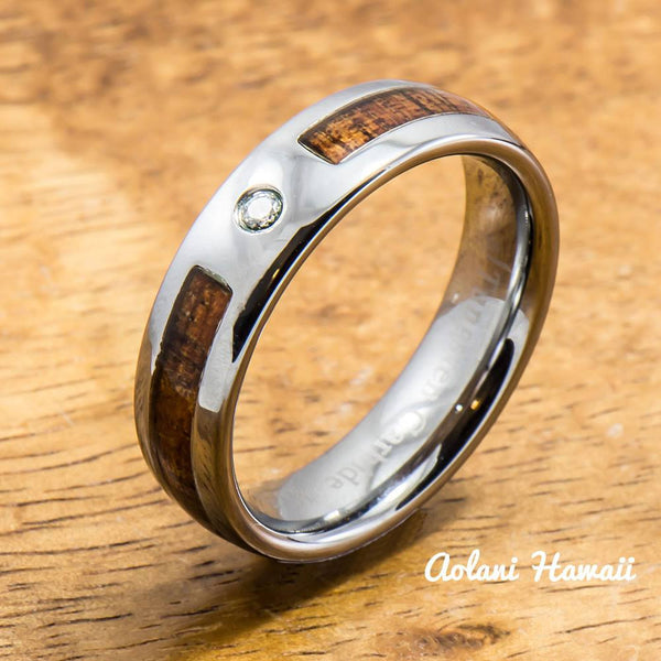 A Set of Hawaiian Koa Wood Tungsten Rings with CZ Stone (6mm & 8mm width ) - Aolani Hawaii - 3