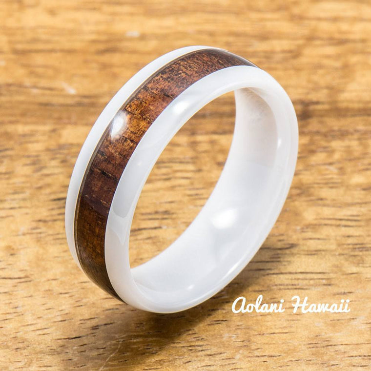 White Ceramic Ring with Hawaiian Koa Wood (4mm - 8 mm width, Barrel style)