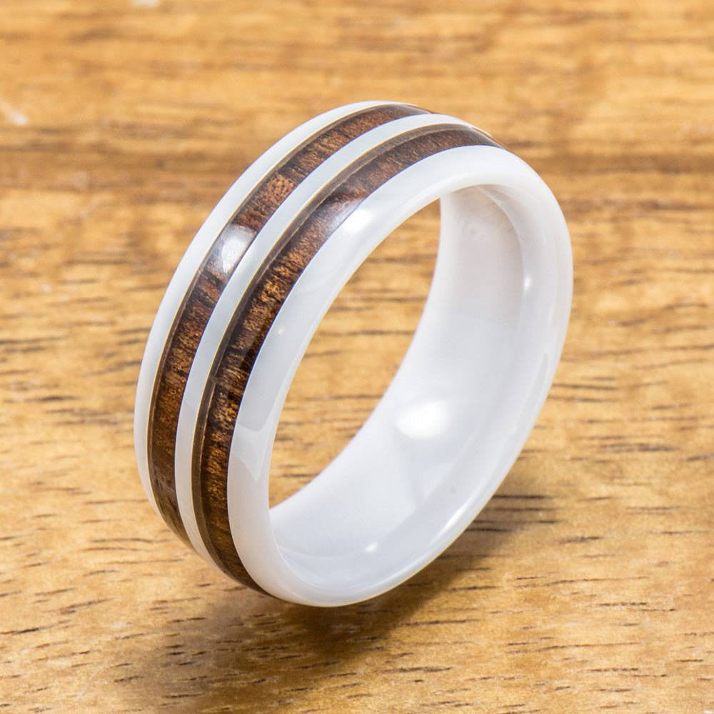 products style shape white black hawaiian koa fitment inlay ceramic ring width double opal with comfort wood rings barrel