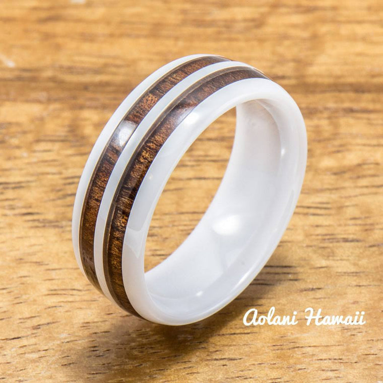 White Ceramic Rings with Double Hawaiian Koa Wood Inlay (6mm - 8mm width, Barrel style )
