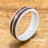 Wedding Band Set of Ceramic Rings with Hawaiian Koa Wood Inlay (6mm & 8mm width ) - Aolani Hawaii - 3