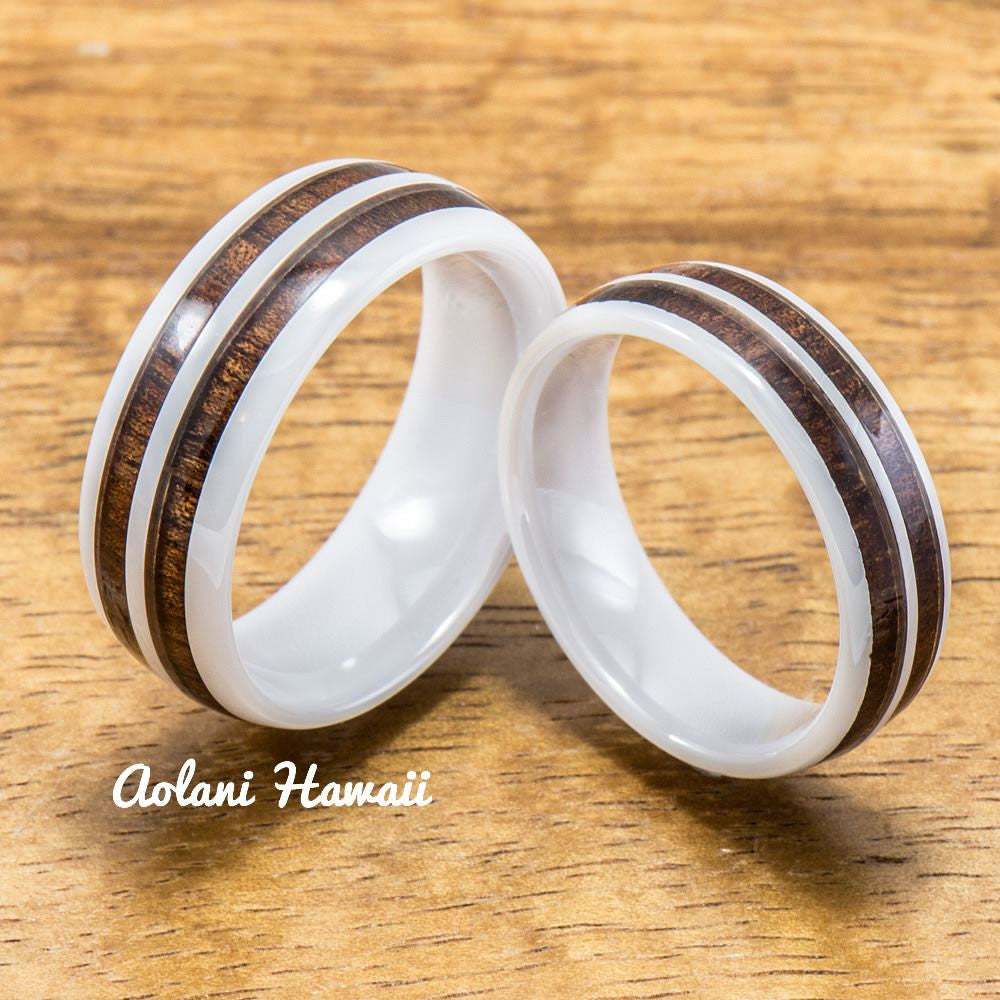 Wedding Band Set of Ceramic Rings with Hawaiian Koa Wood Inlay (6mm & 8mm width ) - Aolani Hawaii - 1