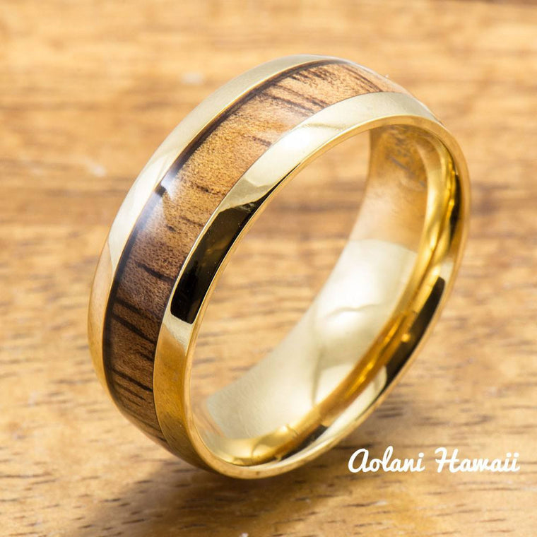 Yellow Gold Colored Stainless Steel Ring with Hawaiian Koa Wood (6mm - 8mm width, Barrel Style)