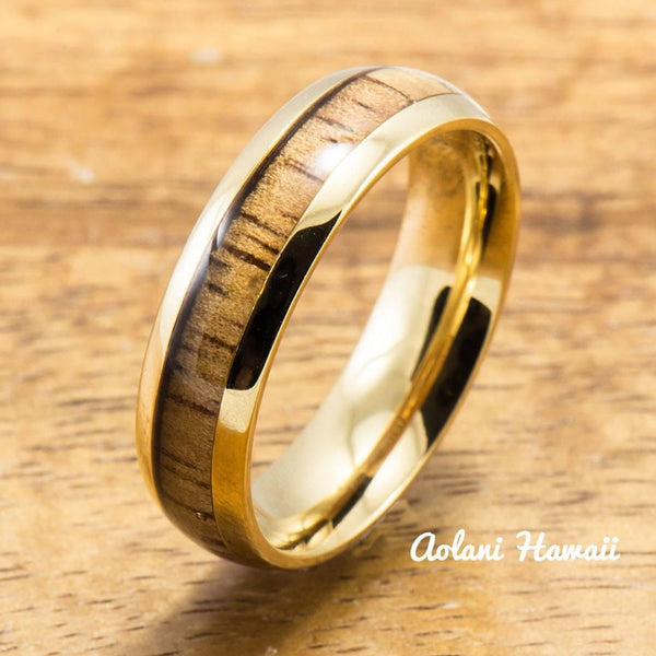 Yellow Gold Colored Stainless Steel Ring with Hawaiian Koa Wood (6mm - 8mm width, Barrel Style) - Aolani Hawaii - 2