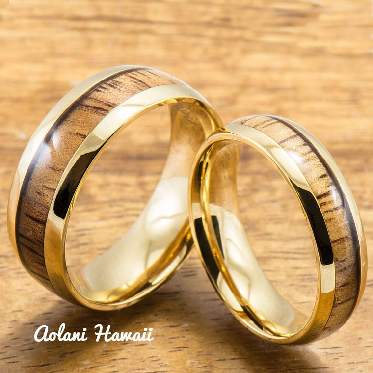 Stainless Steel Wedding Rings Set with Hawaiian Koa Wood (6mm & 8mm width, Yellow Gold Colored)