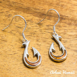 Silver Fishhook Earring Pierce made with Sterling Silver and Hawaiian Koa Wood Inlay - Aolani Hawaii - 1