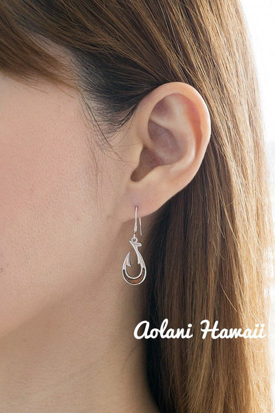 Silver Fishhook Earring Pierce made with Sterling Silver and Hawaiian Koa Wood Inlay - Aolani Hawaii - 2