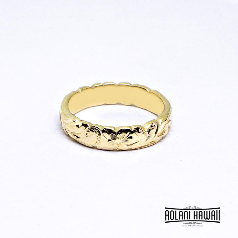 Cutout Edge 14K Gold Traditional Hawaiian Ring (4mm Width Barrel)