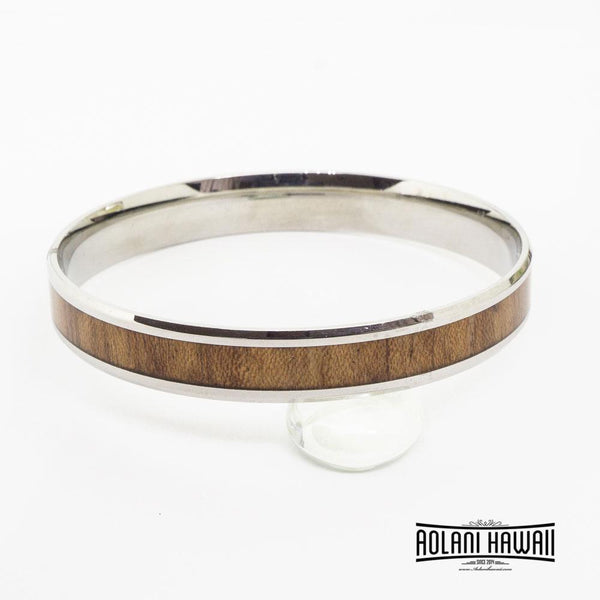 Flat Koa Wood Bracelet handmade with Stainless Steel (6mm - 12mm width)