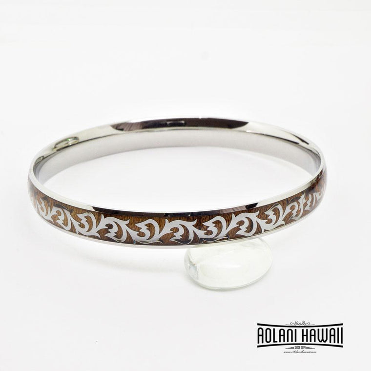 Hawaiian Scroll Koa Wood Bracelet handmade with Stainless Steel (8mm width)