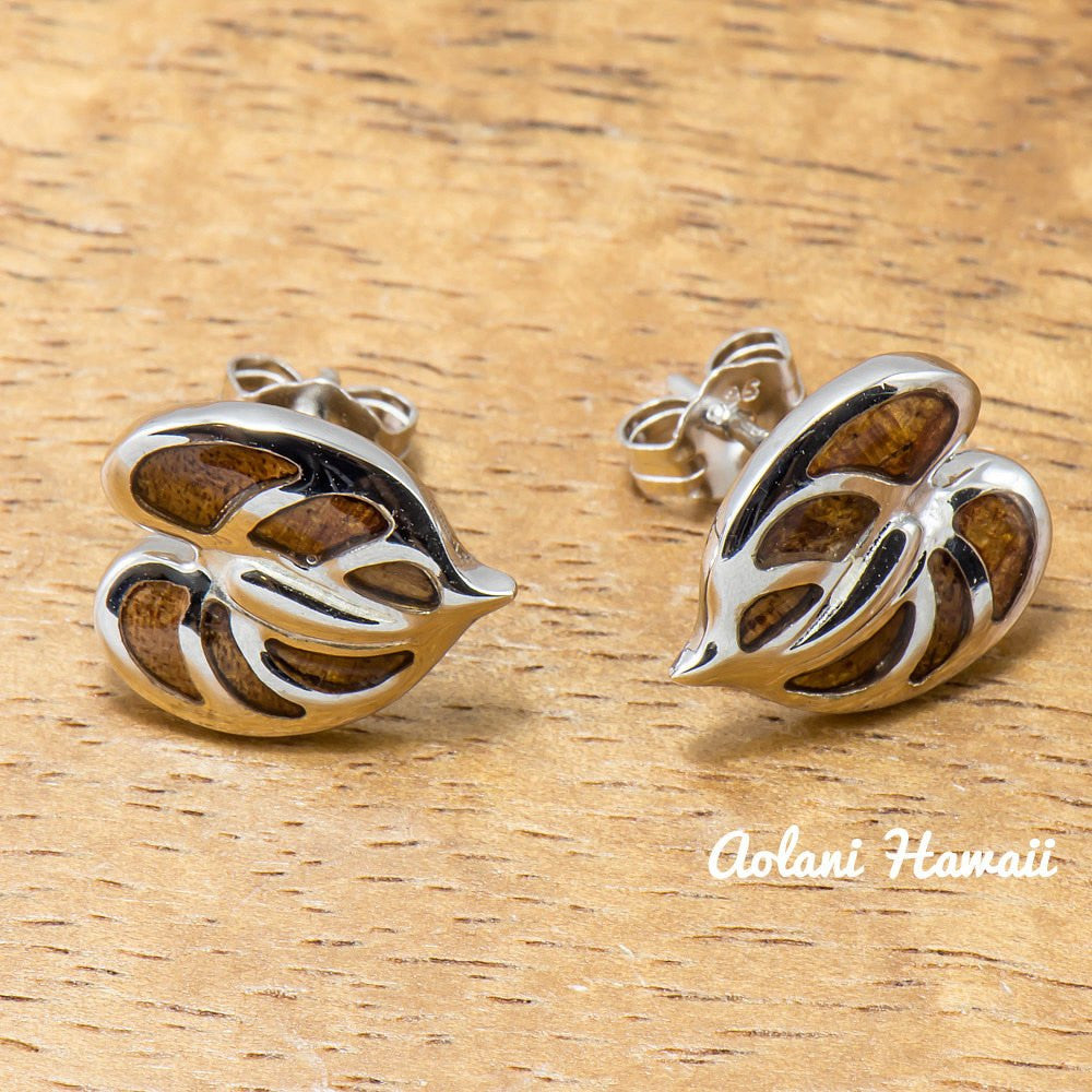 Sterling Silver Anthurium Earring Pierce with Hawaiian Koa Wood Inlay - Aolani Hawaii - 1