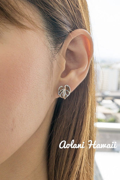 Sterling Silver Anthurium Earring Pierce with Hawaiian Koa Wood Inlay - Aolani Hawaii - 2
