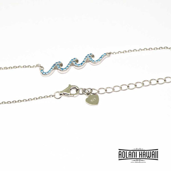 Sterling Wave Pendant Necklace with CC Stones