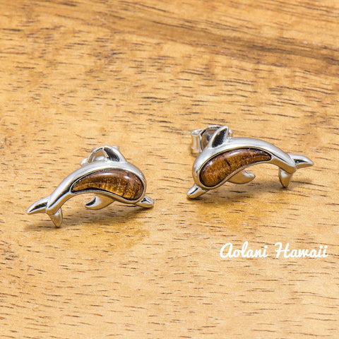 Sterling Silver Dolphin Earring Pierce with Hawaiian Koa Wood Inlay