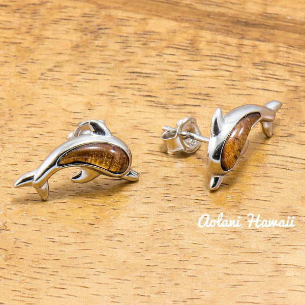 Sterling Silver Dolphin Earring Pierce with Hawaiian Koa Wood Inlay - Aolani Hawaii - 2