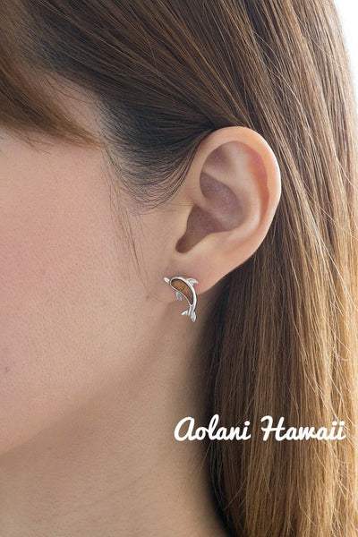 Sterling Silver Dolphin Earring Pierce with Hawaiian Koa Wood Inlay - Aolani Hawaii - 3