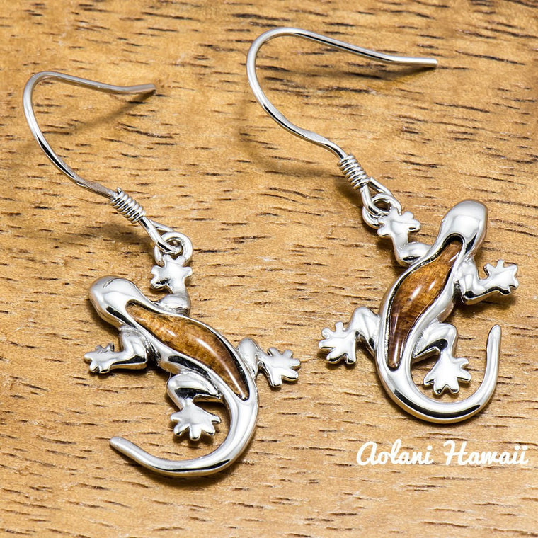 Sterling Silver Earring Pierce - Gecko with Hawaiian Koa Wood Inlay