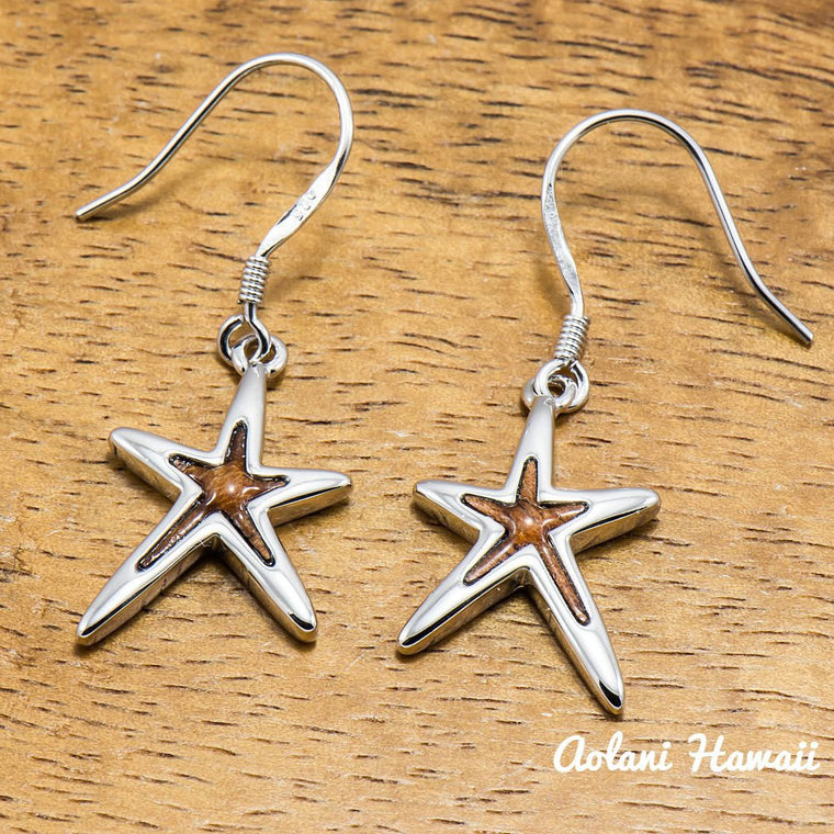 Sterling Silver Earring Pierce with Hoku Starfish and Hawaiian Koa Wood Inlay