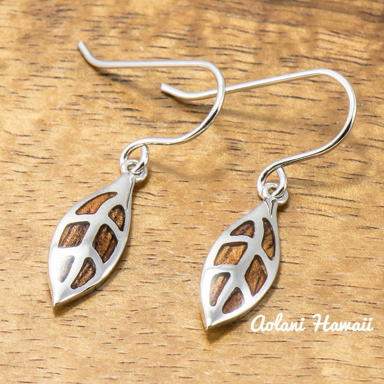 Sterling Silver Maile Leaf Earring Pierce with Hawaiian Koa Wood Inlay