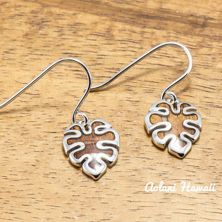 Sterling Silver Monstera Leaf Earring Pierce with Hawaiian Koa Wood Inlay