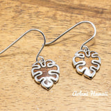 Sterling Silver Monstera Leaf Earring Pierce with Hawaiian Koa Wood Inlay - Aolani Hawaii - 1