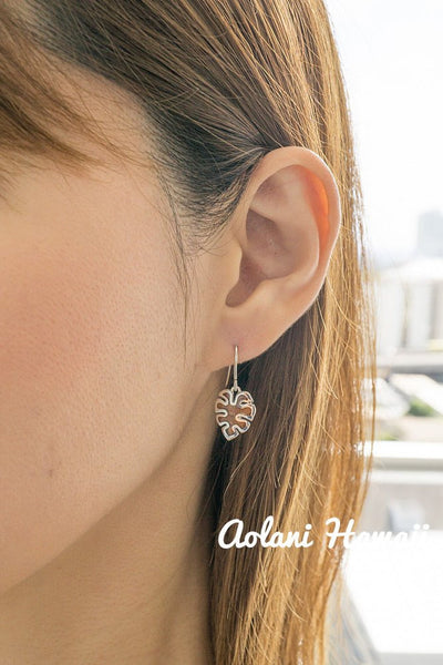 Sterling Silver Monstera Leaf Earring Pierce with Hawaiian Koa Wood Inlay - Aolani Hawaii - 2
