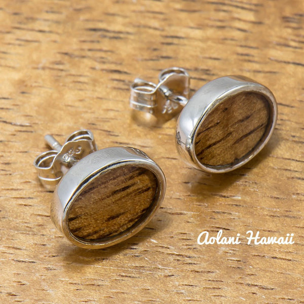 Sterling Silver Oval Earring Pierce with Hawaiian Koa Wood Inlay - Aolani Hawaii - 1