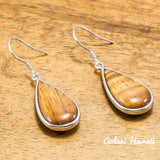 Sterling Silver Pierce Earring with Raindrop and Hawaiian Koa Wood Inlay - Aolani Hawaii - 1