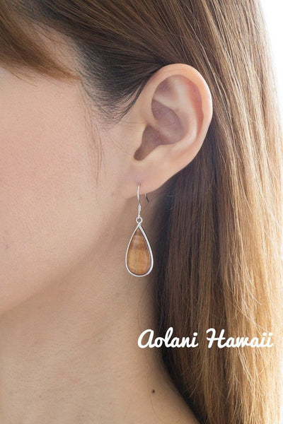Sterling Silver Pierce Earring with Raindrop and Hawaiian Koa Wood Inlay - Aolani Hawaii - 2