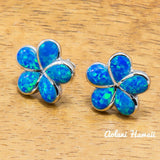 Sterling Silver Plumeria Earring Pierce with Opal Inlay - Aolani Hawaii - 1
