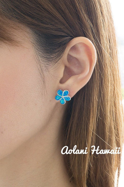 Sterling Silver Plumeria Earring Pierce with Opal Inlay - Aolani Hawaii - 3