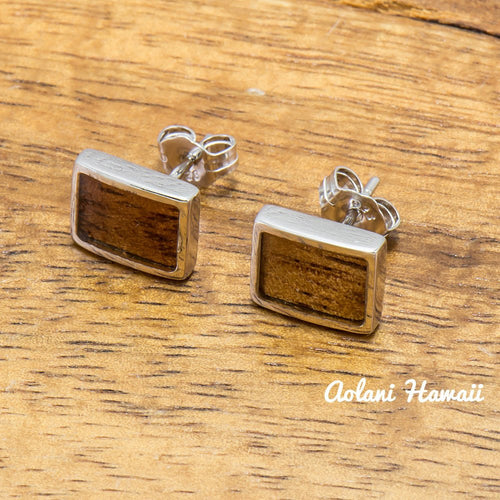 Sterling Silver Rectangle Earring Pierce with Hawaiian Koa Wood Inlay - Aolani Hawaii - 1