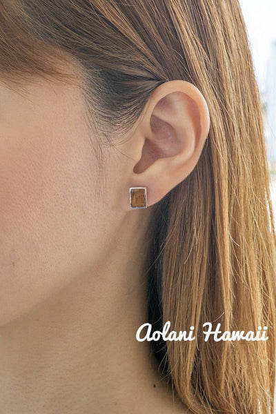 Sterling Silver Rectangle Earring Pierce with Hawaiian Koa Wood Inlay - Aolani Hawaii - 2