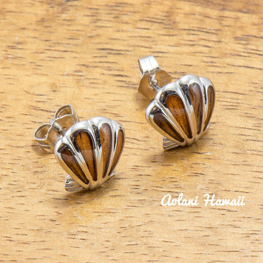 Sterling Silver Sea Shell Earring Pierce with Hawaiian Koa Wood Inlay - Aolani Hawaii - 1