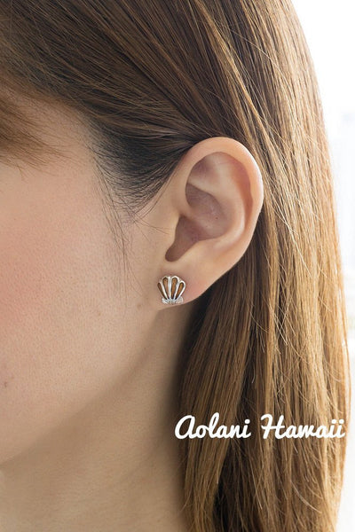Sterling Silver Sea Shell Earring Pierce with Hawaiian Koa Wood Inlay - Aolani Hawaii - 2