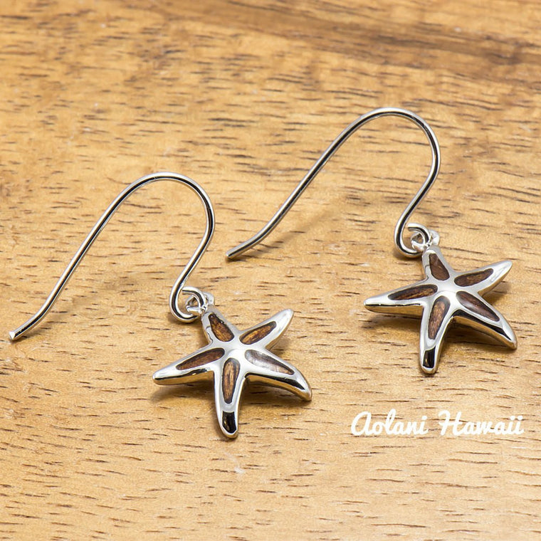 Sterling Silver Starfish Earring Pierce with Hawaiian Koa Wood Inlay