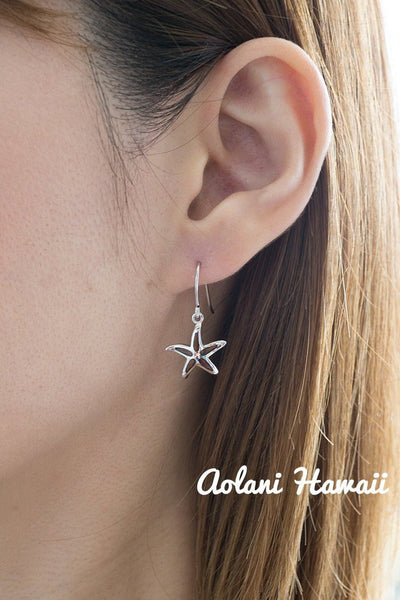Sterling Silver Starfish Earring Pierce with Hawaiian Koa Wood Inlay - Aolani Hawaii - 2