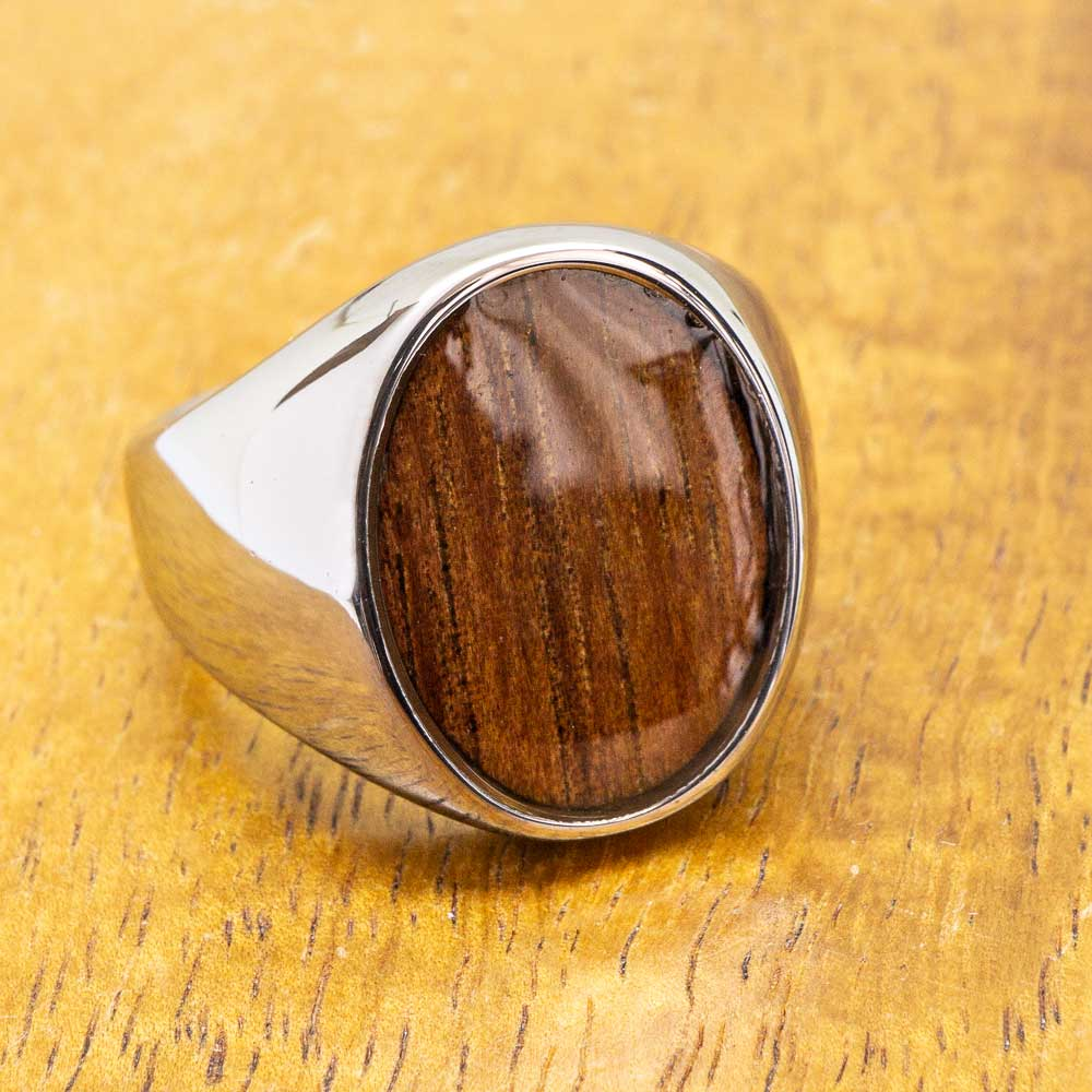 Tungsten Class Ring with Koa Wood