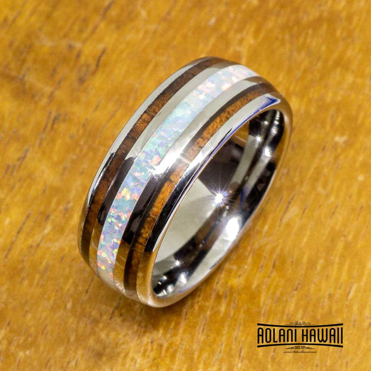 NEW - White Opal Tungsten Ring With Koa Wood Inlay (8mm Width, Barrel style)