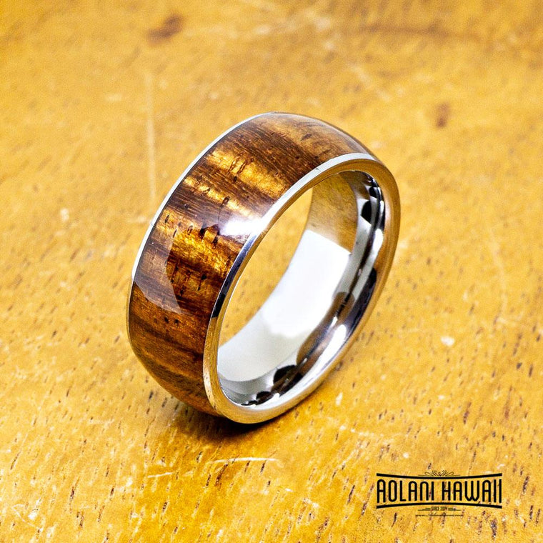 NEW - Rosewood Tungsten Ring (8mm Width, Dome style)